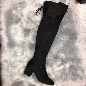 Faux Suede Low Heel Over Knee Boot, Size 6.5